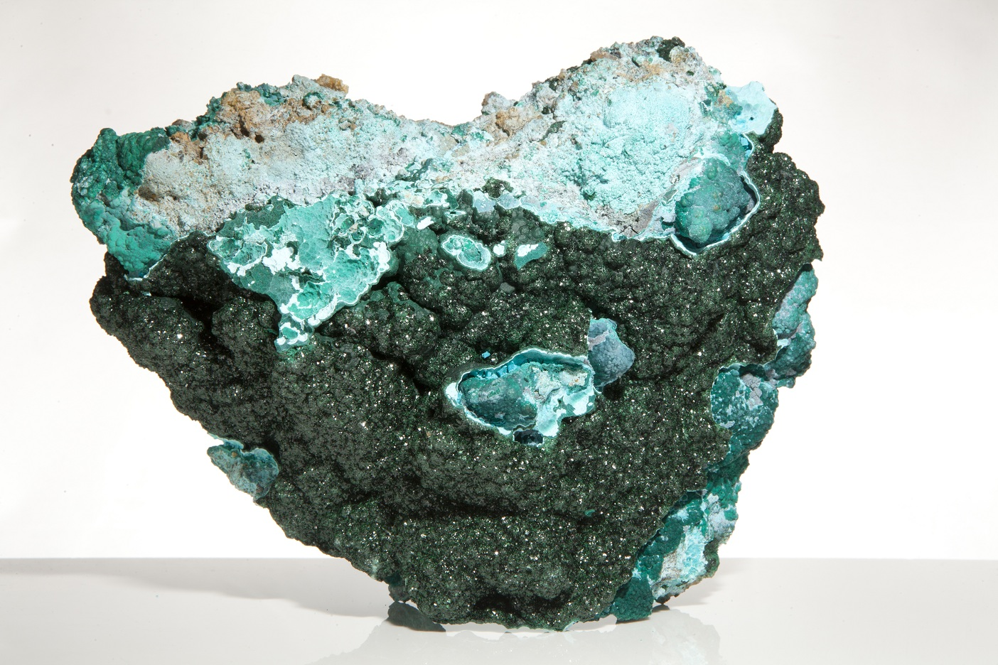 malachite crystals on chrysoccolla 5 x 4 x 2 celestial earth