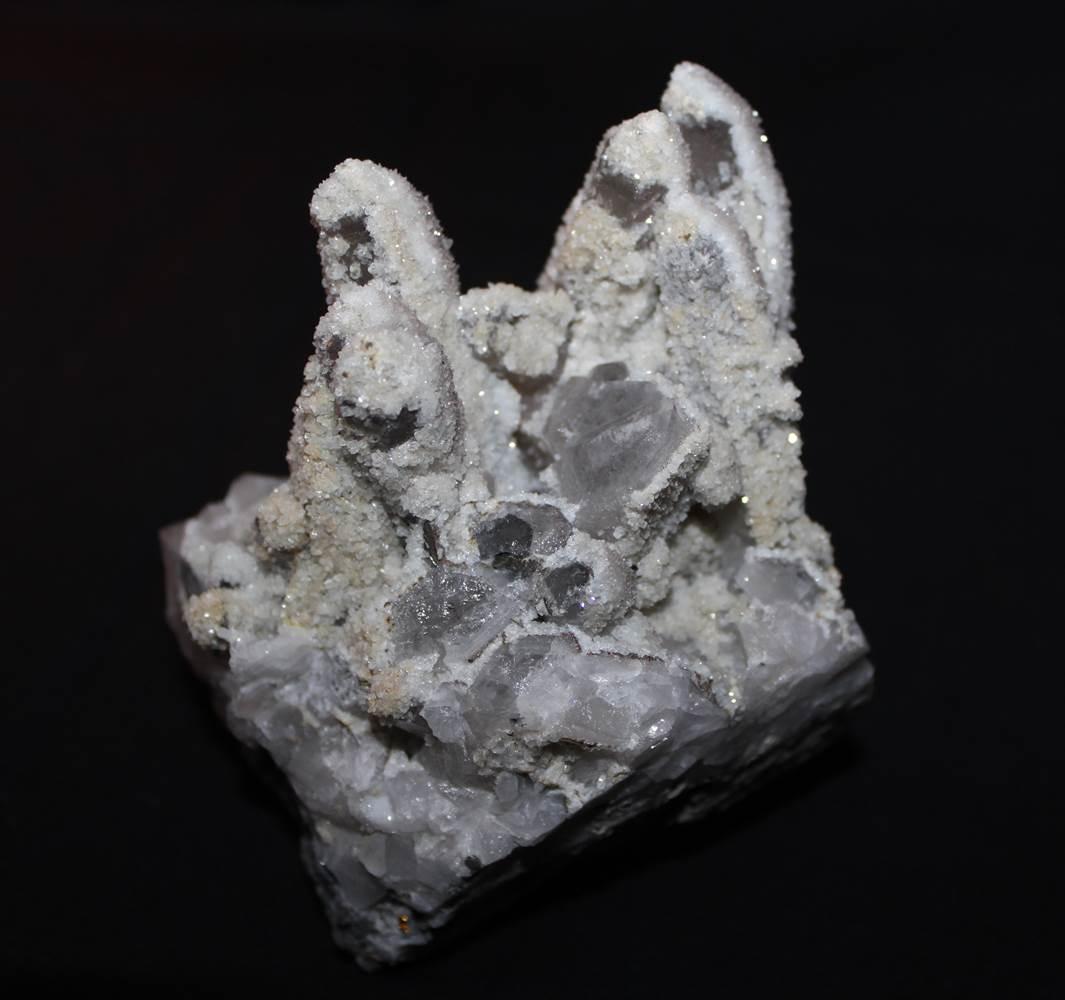 Quartz Chalcopyrite On Garnet Crystal Mineral Specimen